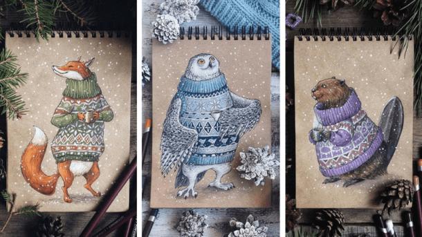 Зимни картички с животни на Юлия Селина